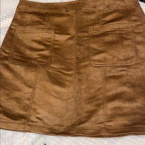 NWOT Faux Suede, Never Worn, Tan, Zip Back Skirt